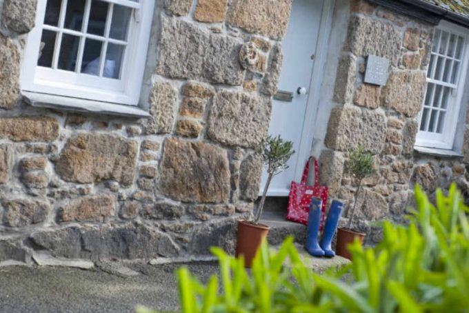 Outside the characterful cottage